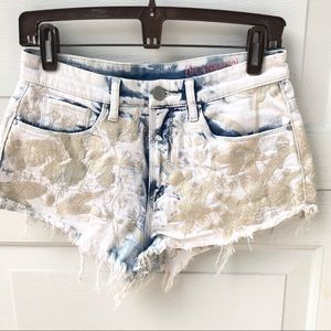 BLANK NYC embroidered jean denim shorts 27 white